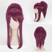 LOL KDA Akali The Rogue Assassin Cosplay Wig Wine Red Hair Ponytail Wig