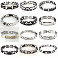 Best Men Silver Stainless Steel Black Rubber Cool Bangle Bracelet Cuff Wristband