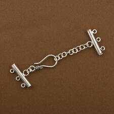 Sterling Silver Multi Strand Clasp. 3 row Connector with Extension. TG1999