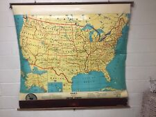 VINTAGE CRAM'S BEGINNER'S MAP OF THE UNITED STATES MARK ON RUB OFF PULL DOWN MAP