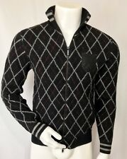 NWT's Juicy Couture mens sweater SzM zip front black red grey diamond cardigan