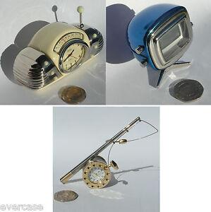 Vintage Blue TV clock, Beige vintage Radio clock. Silver Gold Fishing Rod clock
