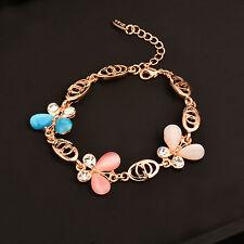 Women 18K Rose Gold Plated Sl195 Charm Multicolor Opal Butterfly Bracelets for