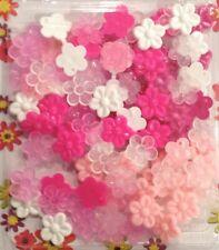 Mini X-small double-sided Pink Flower Barrettes (Snaps) braids, twists, cornrows