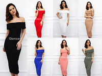 Glamzam New Womens Ladies Off  Shoulder Midi Stretch Bodycon Pencil Party Dress
