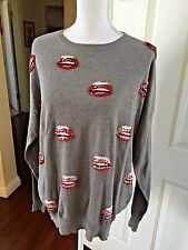Markus Lupfer X TOPSHOP Rare Sequin Lips Embellished Slouch Gray Sweater- Small