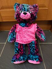 BUILD A BEAR WILD ABOUT SPOTS LEOPARD PINK BLUE CAT KITTY WITH MEOW SOUND PLUSH