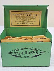 Vtg 1930's Green Metal Recipes Box w/ Spring Monarch Food Chef Reid Murdoch & Co