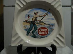 Penn Reels Advertising Square White Ashtray Surf Fishing Lighthouse