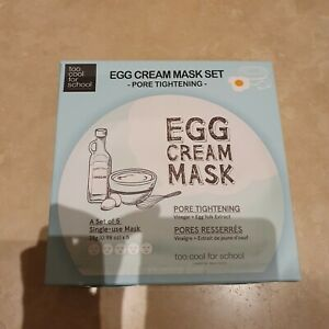 Too Cool For School Egg Cream Face Mask Pore Tightening Set 5 x 28g NEW