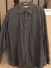 Perry Ellis Men's Long Sleeve Button Front Shirt Gray Blue XL Extra Large