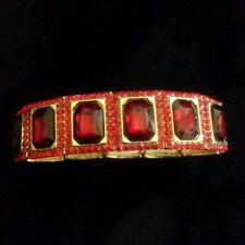 Red Rhinestone Gold Tone Stretch Bracelet