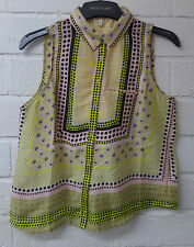 Womens Ladies New Short Sleeveless 60's Geometric Lime Colour Top/Blouse UK 8-18