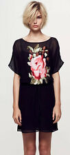 Collette Dinnigan Black Sheer Rose Embroidery Silk Shirt Tunic Dress Frock S 10