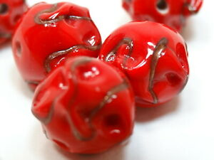 "6 VENETIAN MURANO Vintage Art Glass Beads Baroque Red w/ ""Gold"" 13- 14mm"