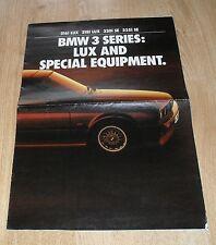 BMW SERIE 3 E30 LUX equipaggiamento speciale OPUSCOLO 1990 316i 318i LUX 320i 325i se
