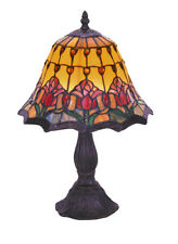 Red Tulip Lamp, Small Table Lamp, Leadlight 36cm.