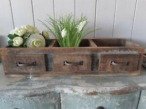 Holzkiste wie 3 Schubladen Aufbewahrung  Küche Bad Pflanztopf Vintage und Shabby