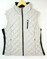 ANDREW MARC Womens Grey / Black Quilted Full Zip Puffer Vest - Size XL