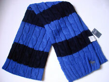 NEW ABERCROMBIE MENS CABLE KNIT SCARF MOOSE LOGO BLUE AND NAVY STRIPE