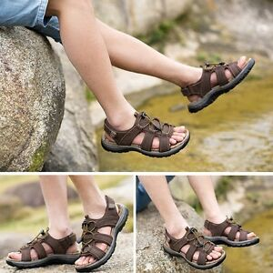 Men's Summer Hiking Comfy Leather Sandals Beach Shoes Open Toe Fisherman Flats