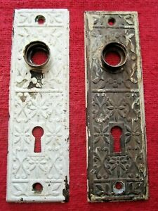 2 MATCHING ANTIQUE ORNATE DOOR KNOB BACKPLATES