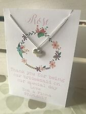 Bridesmaid / Flower Girl Necklace & Gift Card Jewellery Charm Thank You Favour X