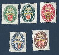 1929 GERMANY STAMPS SET #B28-B32 NOTHLIFE, PROVINCIAL ARMS, UNUSED ORIGINAL GUM