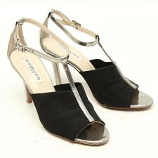 Claudia Ciuti Nicole Womens Peep Toe Heels 7.5 M Silver Strap Black Duma Italy