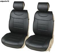 Coppia Coprisedili Ecopelle Nera Per Nissan Ford VW Fodere Sedili Auto Neri
