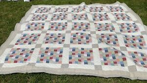 """Nautica Cotton Patchwork Quilt for Repair / Upcycle / Crafts 92"""" x 92"""""""