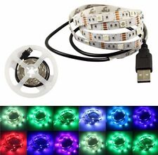 USB LED STRIP LIGHTS TV PC BACK LIGHT RGB 5050 5V Bright COLOUR CHANGING 1M