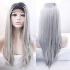 1B/Grey Ombre Color Long Silk Straight Lace Front Wig Synthetic Hair Wigs