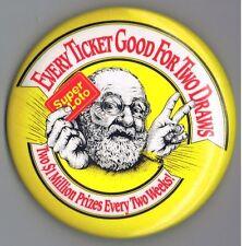 "SuperLoto 1980s National Lottery of Canada 3.5"" Advertising Pinback Button Beard"