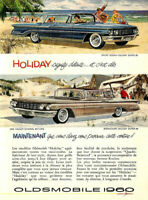 1960 OLDSMOBILE HOLIDAY SUPER 88 & SCENICOUPE AUTOMOBILE ORIGINAL AD IN FRENCH