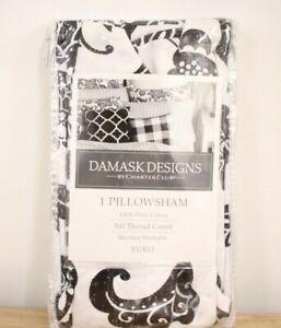 Charter Club EURO Pillow Sham 300 TC Damask Designs Cotton Floral BLACK A9Z087