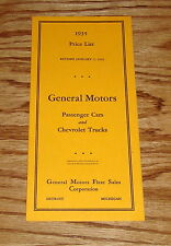 1935 Chevrolet GM Passenger Car & Truck Price List Sales Brochure 35 Chevy