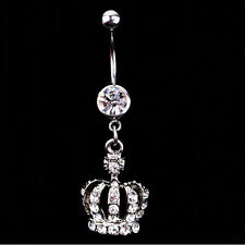 Fashion Navel Belly Button Ring Crown Rhinestone Crystal Piercing Body Jewelry