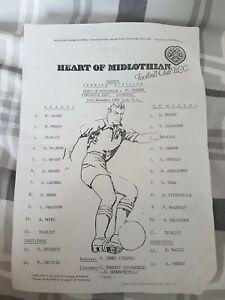 Hearts v St Mirren Reserve Premier Division Team Sheet 10/11/88