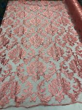 LACE FABRIC - CORAL MESH BRIDAL VEIL EMBROIDERY WEDDING DRESS BY THE YARD