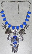 Rhinestone Statement Necklace NEW Big Bold Blue & Clear Stones