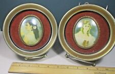 """2 Round metal golden picture frame w glass Victorian women cameos 6"""" hqb"""