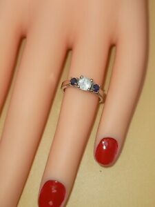 Vintage 10ct White Gold Cubic & Sapphire Ring 2.75G