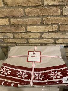 Pottery Barn Kids Fair Isle tree skirt Christmas Decor Knit Snowflakes New