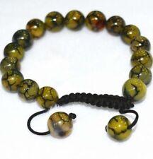 """Men's bracelet 10mm yellow dragon agate STONE beads 7.5"""" J55"""
