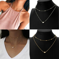 Fashion Women 2-layer Clavicle Necklace Pendant Choker Chain Jewelry Gold/Silver
