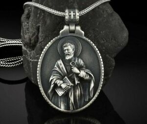 Saint Peter christian Medalion Religious Pendant necklace 925 silver birthday