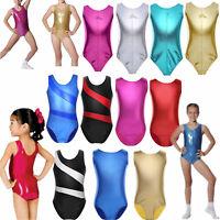 Shiny Kids Girls Rainbow Ballet Dance Bodysuit Gymnastics Leotards Dancewear
