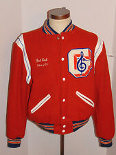 VINTAGE MEN'S 1990s BAND VARSITY JACKET! WOOL! BRIGHT ORANGE! MADE IN USA L