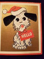Vintage Christmas Greeting Card Scottie Scotty Scotland Scottish Terrier Santa